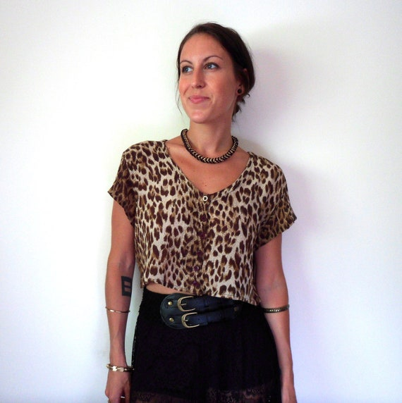 Animal Print Leopard Button Up Short Sleeve Crop Top