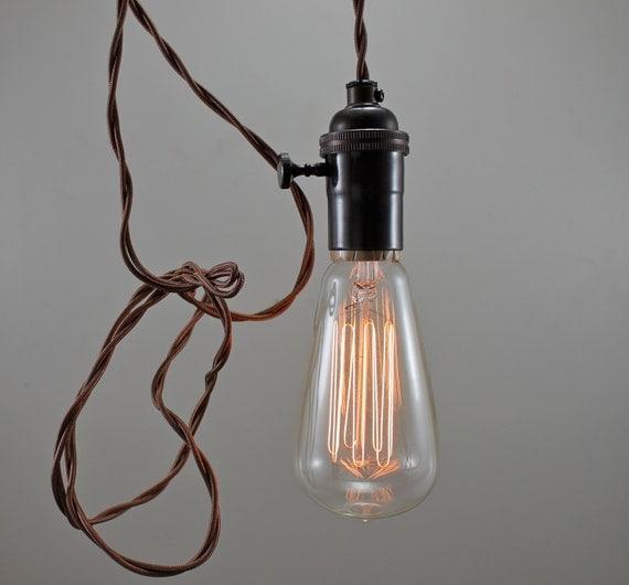 Brown Modern Bare Bulb Pendant Light