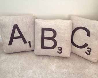 Set of 3 Giant Scrabble Letter pillows - personalize your own