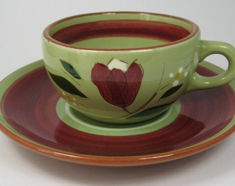 Retro 1950s Stangl USA Cup And Saucer Magnolia Brown Avocado Green And Red Floral Retro Tea Party