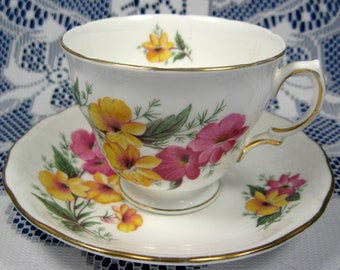 Cup And Saucer 1950s Colclough Pink And Yellow Flowers Pedestal Teacup