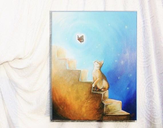 "Chasing the Light, Original Painting, Pet Loss, 16"" x 20"""