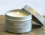 Driftwood Soy Candle Tin 4 oz. - woody earthy vanilla sandalwood scented soy candle
