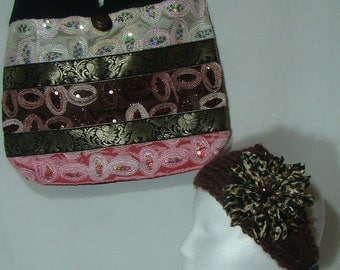 Shoulder Tote Bag with FREE Crochet Headband/Scarf,R13