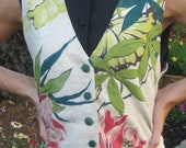 1950's bark cloth fabric vest greens and reds