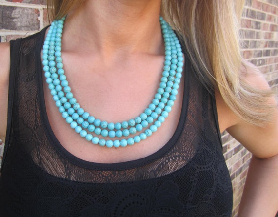 Turquoise Stone Statement Necklace Multi Strand