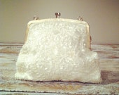 Vintage White & Gold  Beaded Clutch circa 1950s