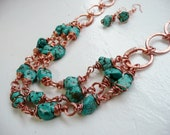 RESERVED - Blue Stone 3 Strand Copper Wrapped Necklace