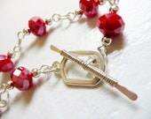 Faceted Red Berry Toggle Bracelet and Earring Set