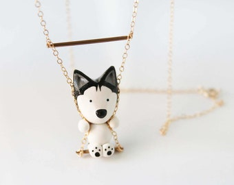 Mika the Siberian Husky necklace on a swing -14k Gold filled-