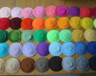 300 Felt Scoplled Circles -  1.2 inches to 4 inches - 50 Colors