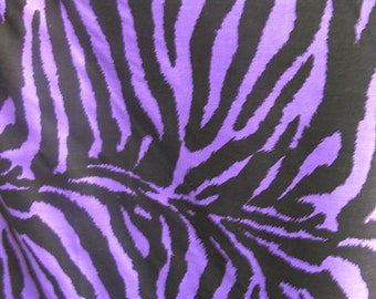 "Poly Cotton Purple Zebra Animal Print 60"" Fabric by the Yard - 1 Yard"