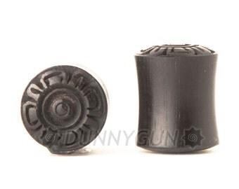 "7/16"" Pair Aztec Flower Black Dogwood Plugs Free Shipping Organic Body Piercing Jewelry Earrings Gauge"
