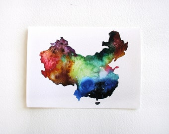 China Map Print, Watercolor Painting, 8x10 Colorful Watercolor Map Print