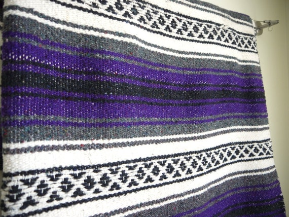 """Vintage Mexican Blanket, Southwestern, Ethnic, Woven Blanket, 72"""" long and 47"""" wide Purple Black"""