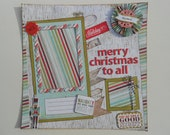 12x12 Premade Christmas Scrapbook Page, Woodgrain and Candy Stripes, Merry Christmas to all, Holds one 4x6 and one Instagram (2x2 OR 3x3)