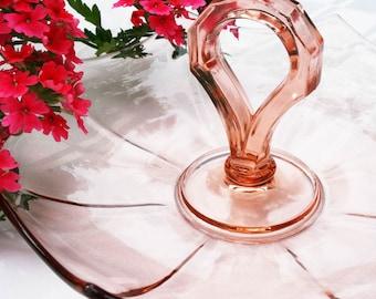 Vintage Pressed Glass Pink Serving Dish 1930s 30s Thirties