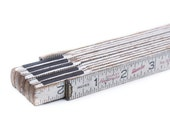 """Vintage White Contractors Folding Measure Ruler  - In Inches - Extends to 72"""""""