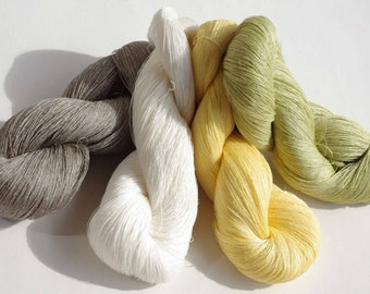 400gr linen yarn, 100%pure linen, thn 1ply yarn, weaving, sewing  yarn, green, yellow, gray, white color