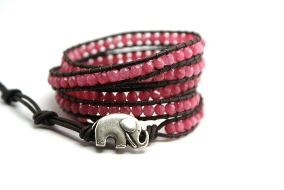 5 x wrap leather bracelet Lucky elephant button charm Pink Chalcedonay lucky jewelry gift present for women