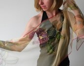 Silk scarf Hand painted - Elegant scarf hand dyed on chiffon - Congnac beige brown floral - made TO ORDER