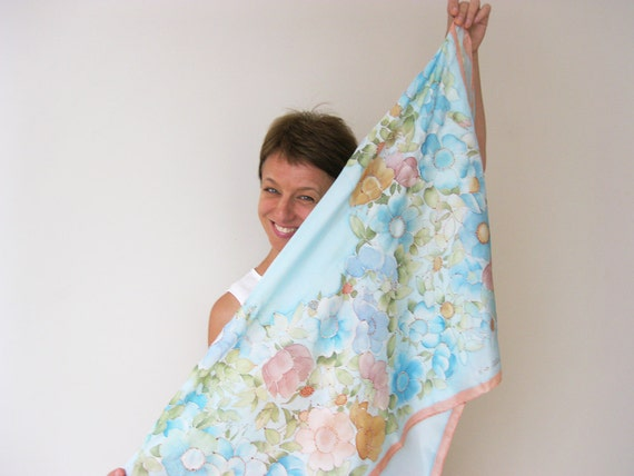Silk scarf Hand painted Pastel fashion Turquoise flowers roses wreath