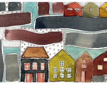 Grey Sky Houses In The Rain, Watercolor Painting, Wall Art