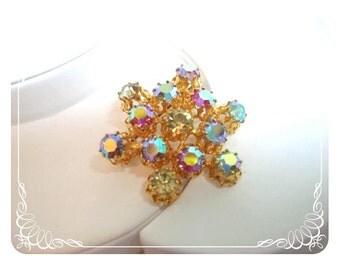 Sparkling Gold & Aurora Borealis Snowflake brooch  Pin-1374a-040810000