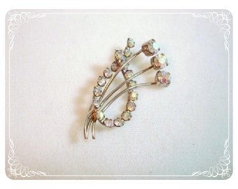 Aurora Borealis Bouquet Brooch - Flowers & Rhinestones Pin   1247ag-012312000