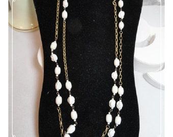 LONG Opera Lenth Vintage Milk White Glass Bead Necklace  1516e-052412000
