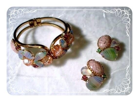 Vintage Clamper Set - Summer Fling Pastel Earrings & Hinged Bracelet  1136ag-062410000