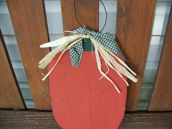 Simple Prim Pumpkin Wooden Door Greeter/Wall Hanging
