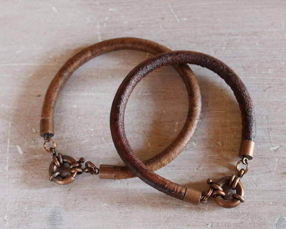 His and Hers Leather Steampunk Bracelets