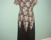 1940 Black and White Lace and Silk Chiffon Dress WWII Formal Gown Metal Zipper Medium- Large