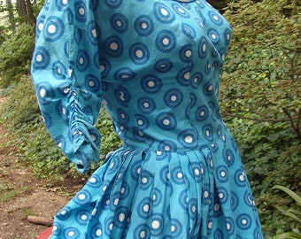 1940 Blue Cotton Day Dress with Polka Dots Buttons VLV Rockabilly Small-Medium SALE