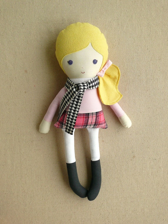Fabric Doll Rag Doll Girl in Plaid Skirt and Houndstooth Scarf