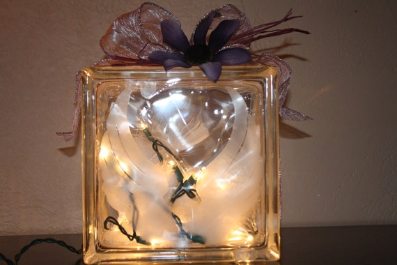 Angel Wings Night Light White Feathers Special Lighting Glass Block