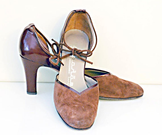 Brown Leather Shoes, Vintage Suede 100% Leather Shoes, High Heels 6.5 Narrow, Leather Soles, Glossy Leather Details, High Fashion for Her