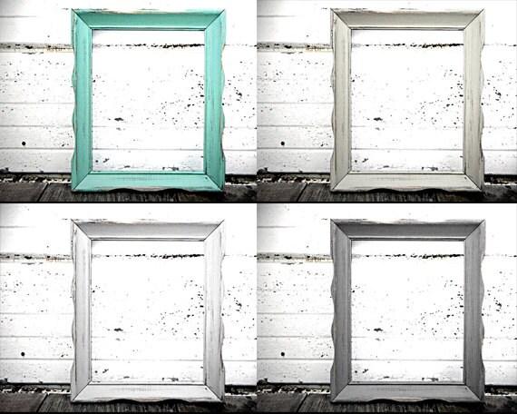11x14 one rustic vintage frame in shabby chic rustic ivory black aqua mint