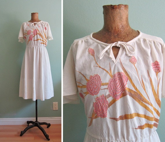 white sundress/ 1970s flutter sleeve dress/ simple floral sundress S