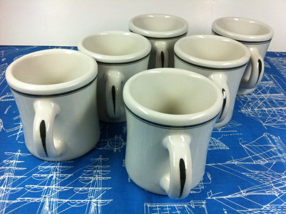 Vintage set of 6 heavy victor green stripe by vintagebaron for Heavy ceramic coffee mugs