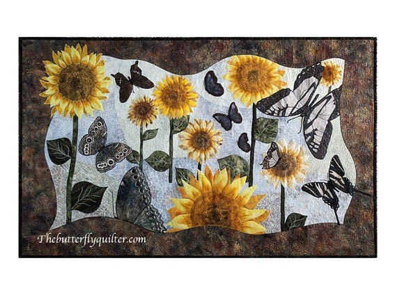 Sunflowers Butterflies Quilted Wall Hanging Mixed Media Art