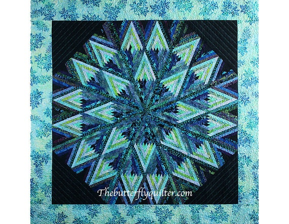 Log Cabin Star Quilt Wall Hanging Geometric Teals Tablecloth Throw Blanket