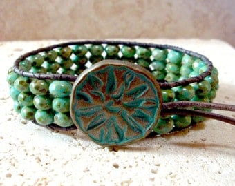 Green Turquoise Czech Picasso Handmade Beaded Leather Single Wrap Cuff  Style Bracelet