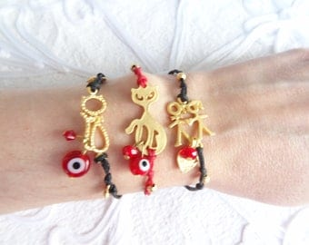 SALE-gold plated bracelet for Valentines gift 3 units -cat bracelet- luck evil eye bracelet