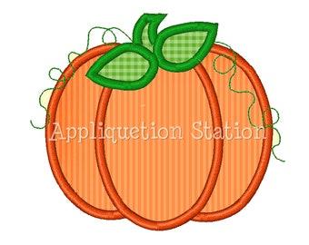 Pumpkin Fall Applique Machine Embroidery Design orange harvest thanksgiving INSTANT DOWNLOAD