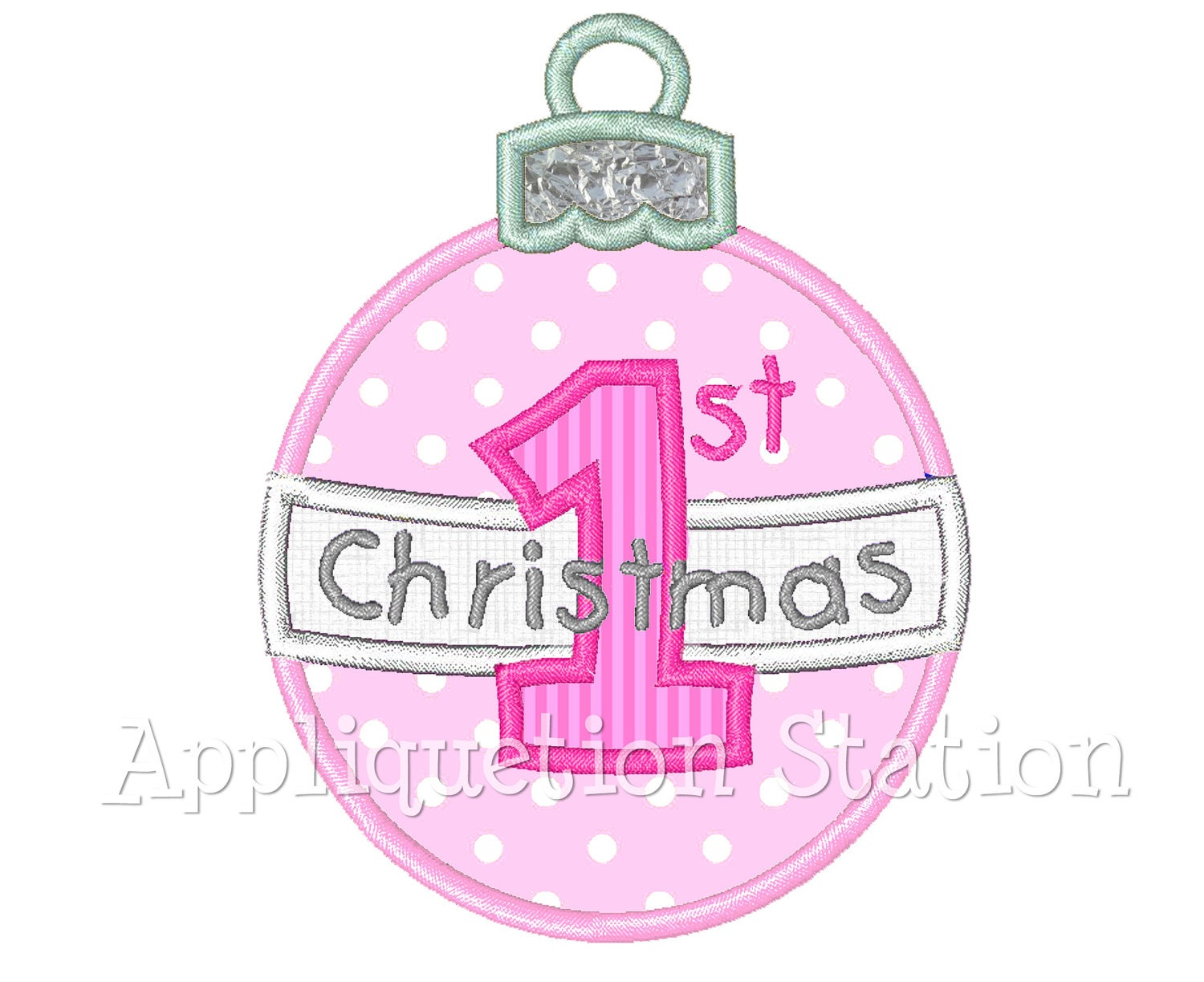 Baby 39 s first christmas ornament round applique machine for How to design a christmas ornament
