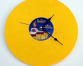"The BEATLES CLOCK made from recycled 12"" vinyl record. Coloured Vinyl. Yellow Submarine. Comes boxed as a gift."
