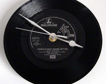 """The BEATLES Vinyl Record CLOCK from original recycled 7"""" record. Choose your own favourite Beatles song Fun retro gift for dad mum boyfriend"""