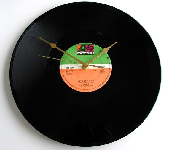 "AC/DC Vinyl Record CLOCK  Recycled ""Lets Get It Up"" 12"" single. Classic Large Heavy Metal Clock. Keep It Rockin....."